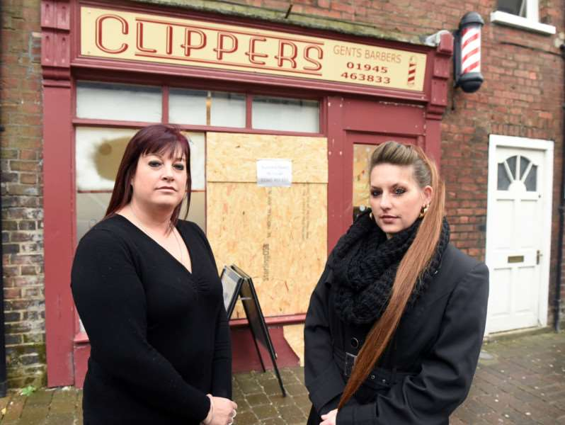 Clippers hair dressers in Wisbech where a car went through the shop front'Sophie Green and Charlie Hayes- Watts