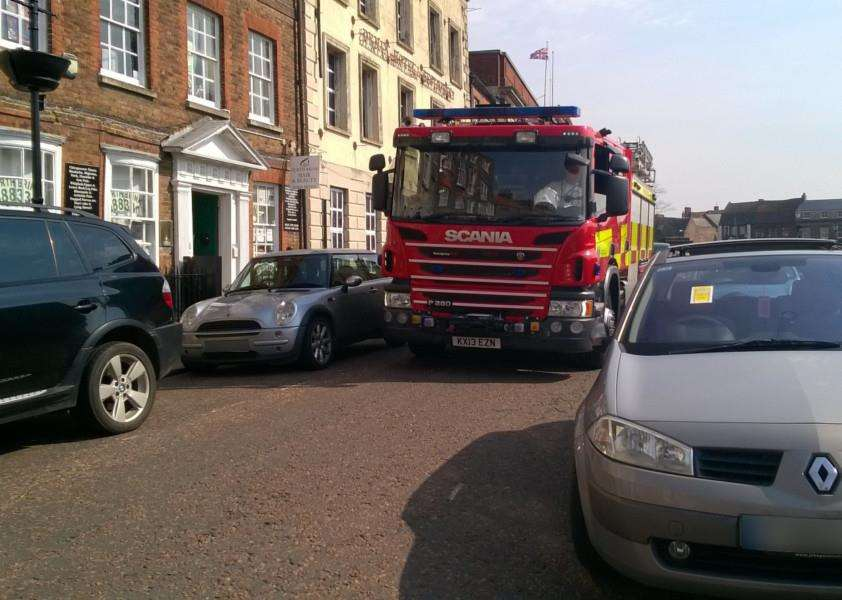 Firefighters struggled to get down this Wisbech street due to inconsiderate parking
