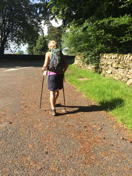 Linda Blatchly walked Hadrian's Wall in memory of her dad Mike Brown. Feeling a little stiff as she sets out from Steel Rigg on day three.