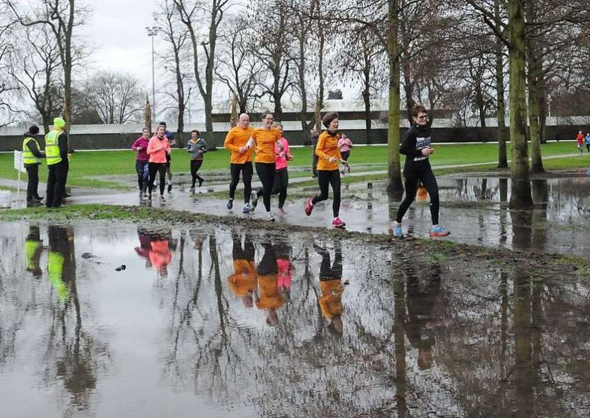 King's Lynn parkrun participants had to navigate flood water during the run in The Walks on Saturday, December 30. Photo: Tim Smith.