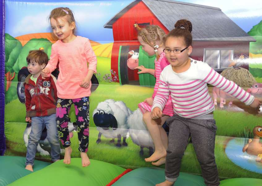Sponsored Bounce for Sport Relief at Clarkson Infant School, Wisbech'Youngsters from the Nursery Class having fun at the bounce event. ANL-160320-162533009