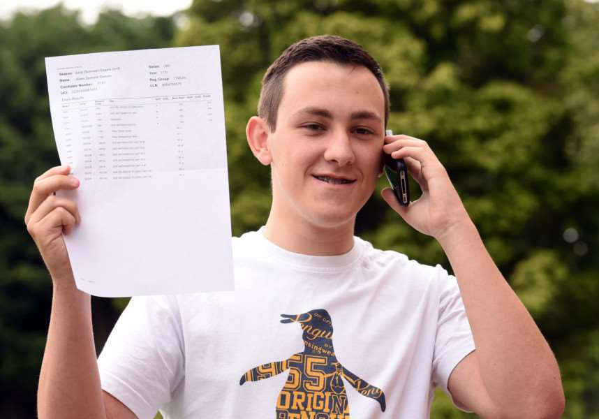 Alex Deaves reports his good news after picking up an A grade in religious studies, and two Bs in maths and geography at the Cromwell Community College in Chatteris.