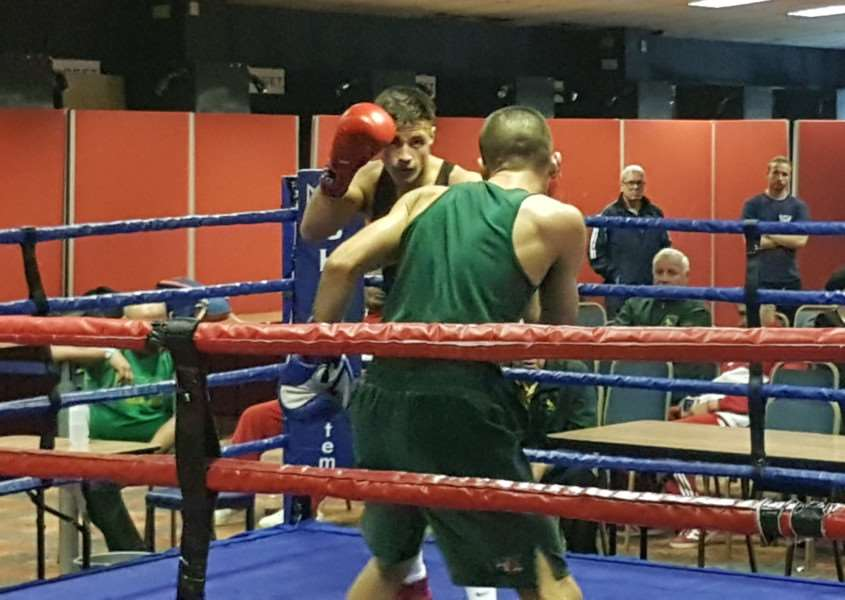 Joe Steed boxed in Harlow in the national championship