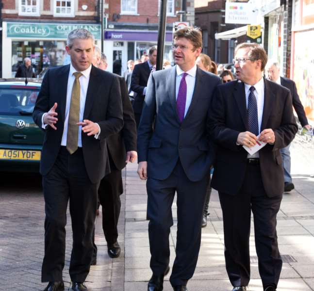 Secretary of State Greg Clark MP visting Wisbech with Steve Barclay MP and Gary Garford ANL-160330-162441009