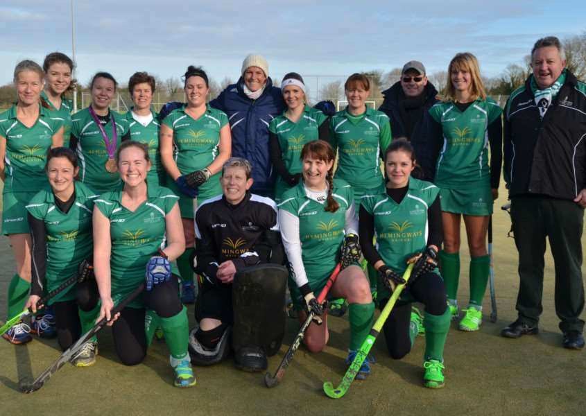 PERFECT PITCH: Long Sutton Ladies' First with hockey international Crista Cullen'and club officials who have applied for funding to lay a brand new pitch at Peele Leisure Centre. Photo by Tim Wilson.