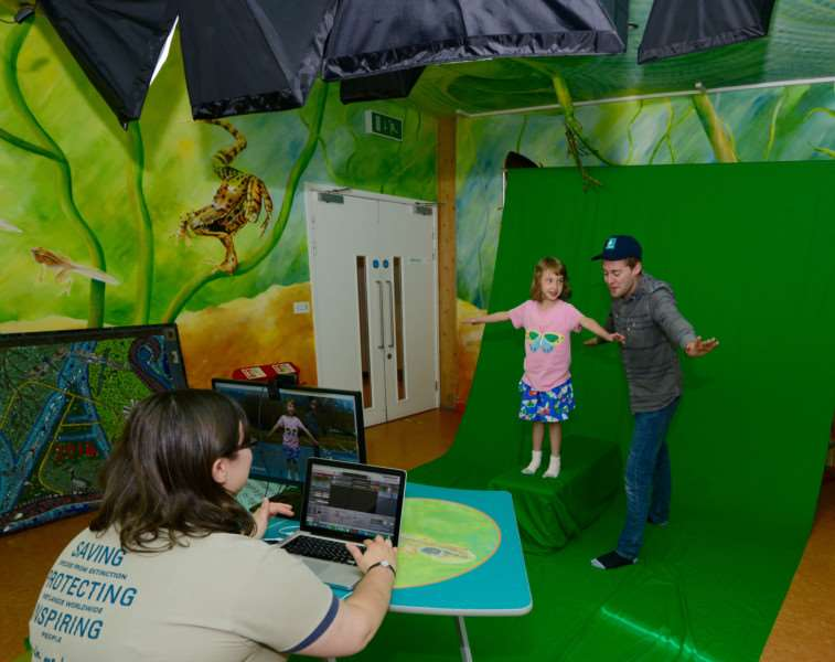 Children and staff have fun at the new interactive wildroom film room at the WWT Welney Wetland Centre. Photo: Bob Ellis.