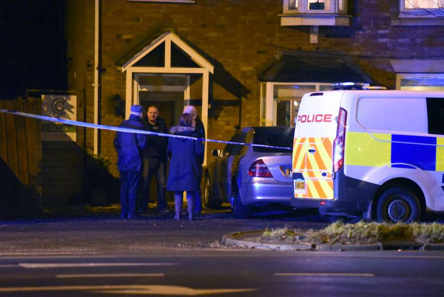 Police at the scene of the stabbing in Churchill Road, Wisbech, yesterday evening (February 15).