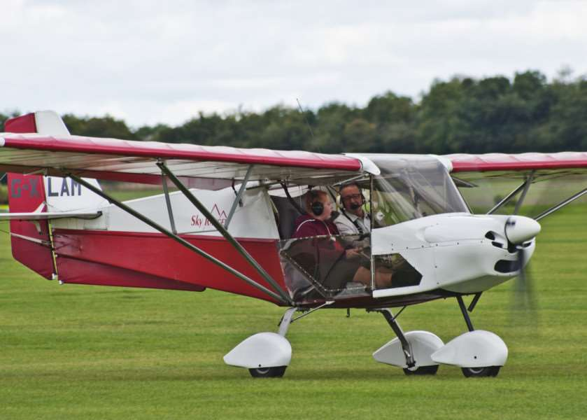 Ten-year old Joseph returns from his first flight in a SkyRanger microlight.