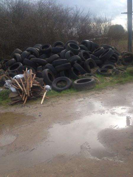 Pile of tyres in Back Lane, Outwell.
