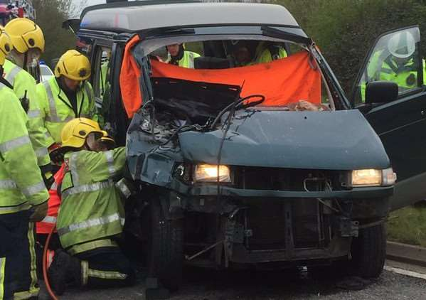 The scene at the crash near Sutton - Photo: Cambs Police