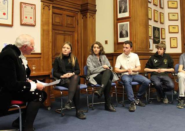 High Sheriff, Captain Victor Lucas RN interviews representatives from Young People March